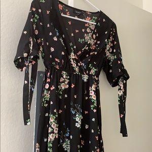 Black floral midi maternity dress